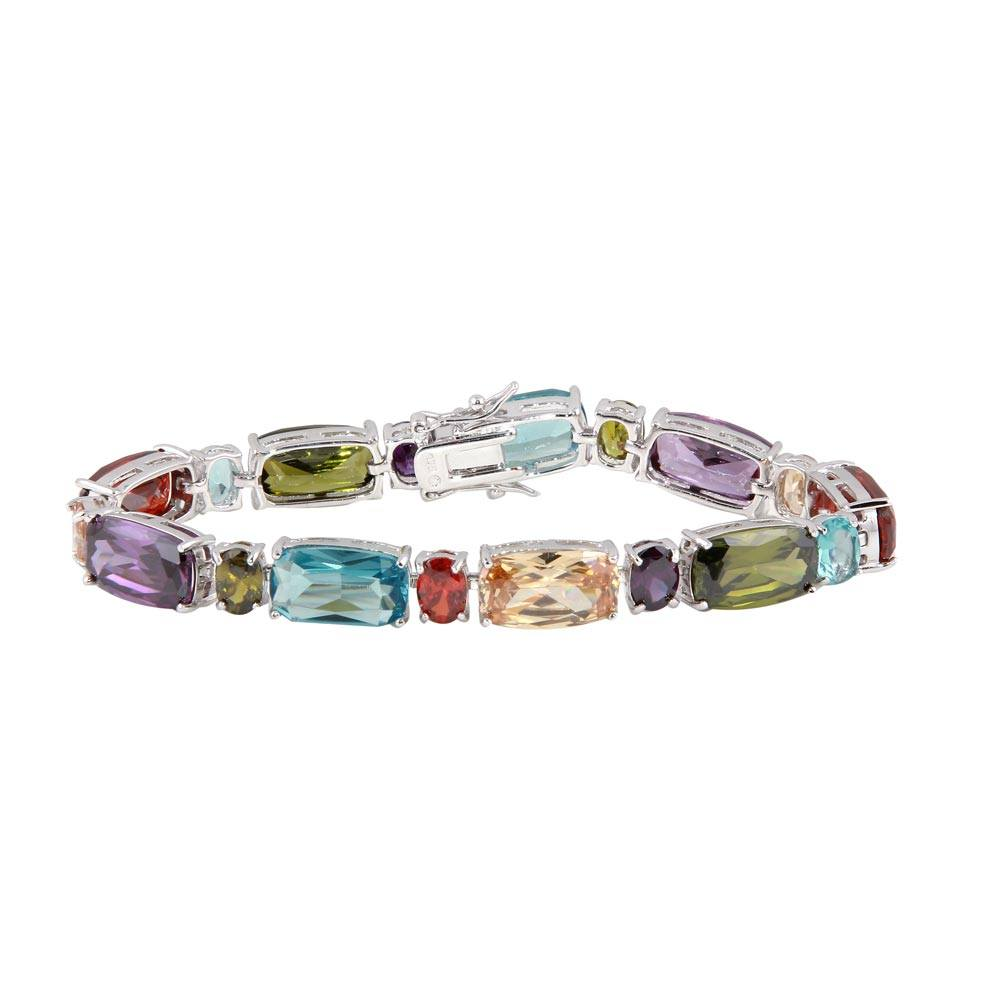 Sterling Silver Rhodium Plated Multi-Color CZ Bracelet