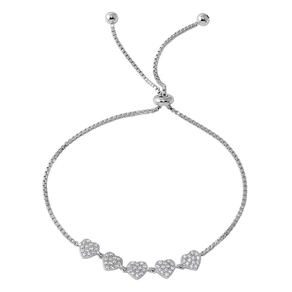 Sterling Silver Rhodium Plated 5 Heart with CZ Lariat Bracelet