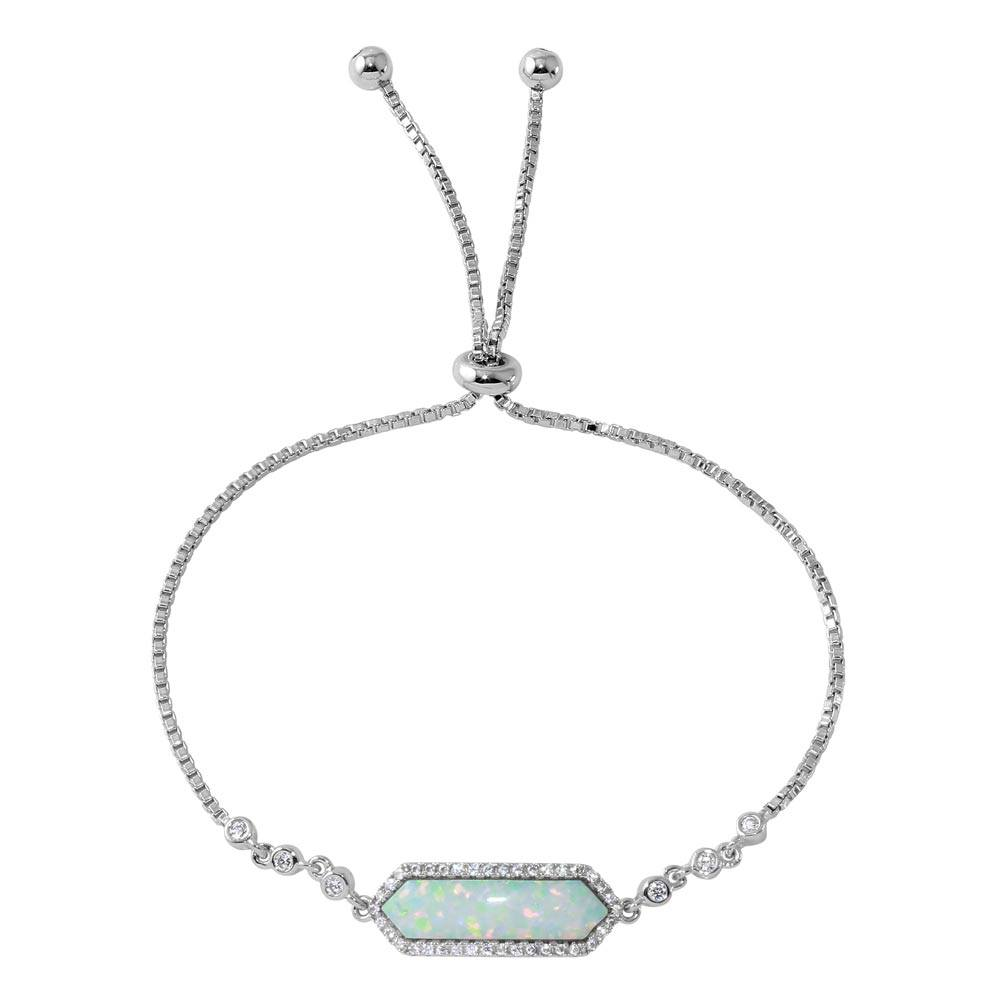 Sterling Silver Rhodium Plated White Opal with CZ Lariat Bracelet