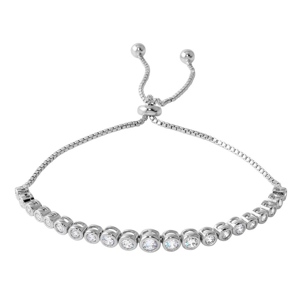 Sterling Silver Rhodium Plated Lariat Bracelet with Round CZ