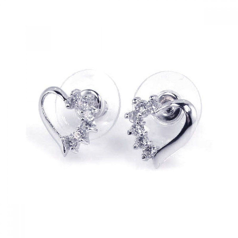 Sterling Silver Rhodium Plated Open Heart Shaped Stud Earrings With CZ Stones