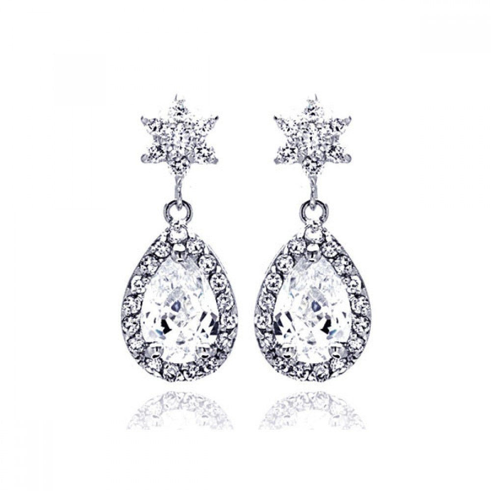 Sterling Silver Rhodium Plated Star Teardrop Center Clear CZ Inlay Outline Dangling  Stud Earring