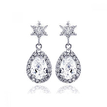Load image into Gallery viewer, Sterling Silver Rhodium Plated Star Teardrop Center Clear CZ Inlay Outline Dangling  Stud Earring