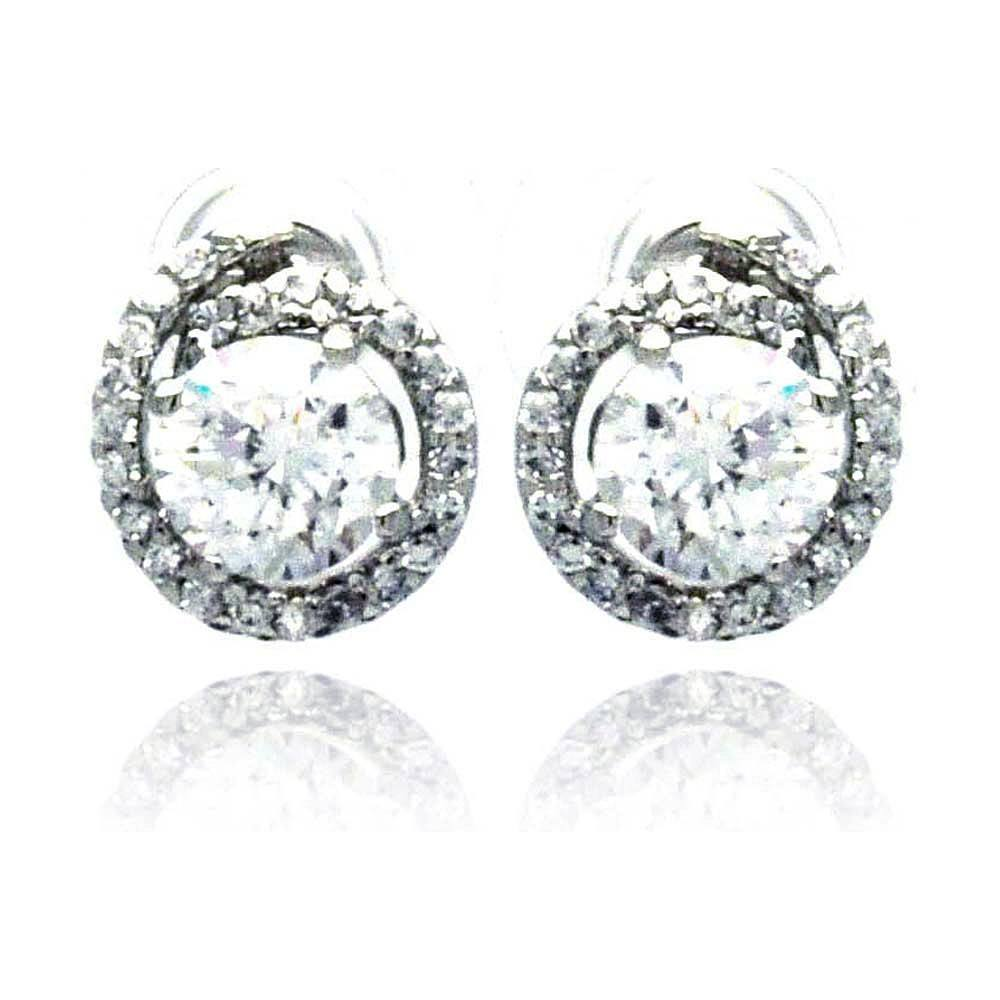 Sterling Silver Rhodium Plated Round Center CZ  Stud Earring
