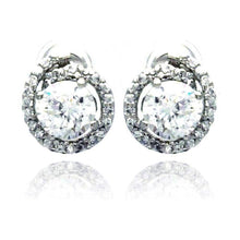 Load image into Gallery viewer, Sterling Silver Rhodium Plated Round Center CZ  Stud Earring