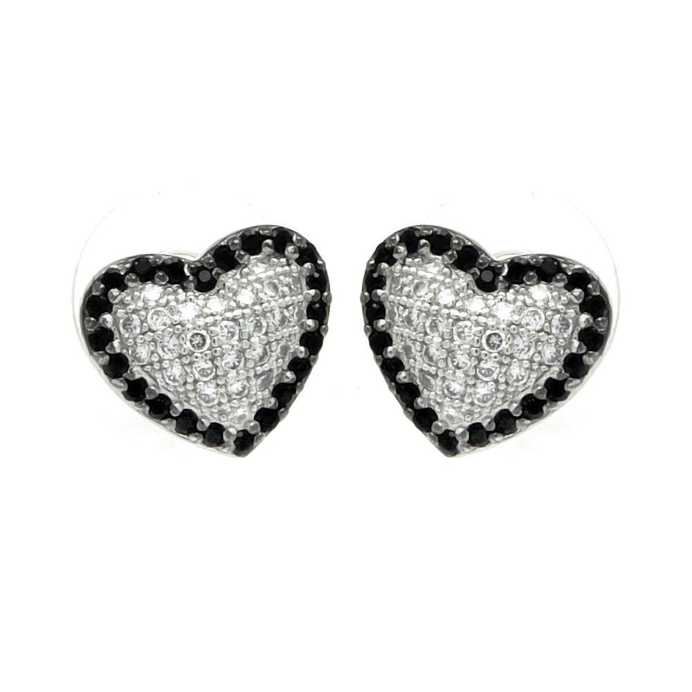 Sterling Silver Rhodium Plated Black And Clear Heart CZ Inlay Outlie Stud Earrings