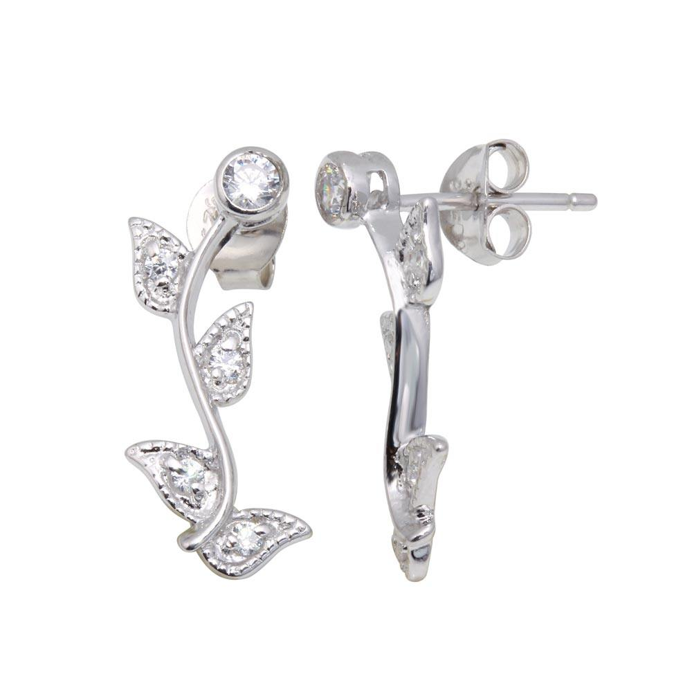 Sterling Silver Rhodium Plated Rose CZ Inlay Stud  Earring