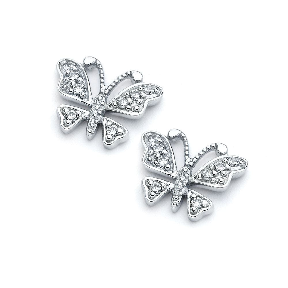 Sterling Silver Rhodium Plated Open Butterfly Shaped  Stud Earring With CZ Stones