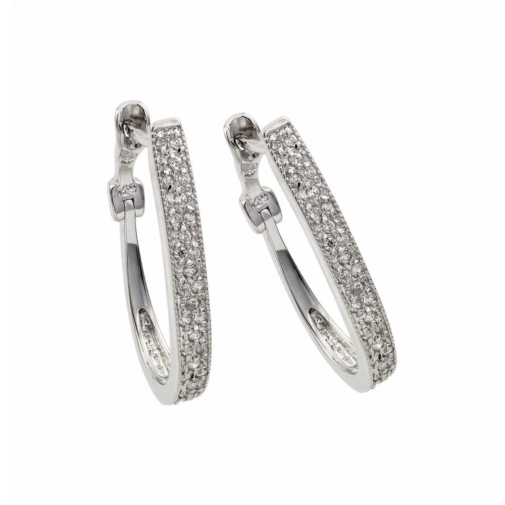 Sterling Silver Rhodium Plated Micro Paved CZ Huggie Earrings with Lever Back Post