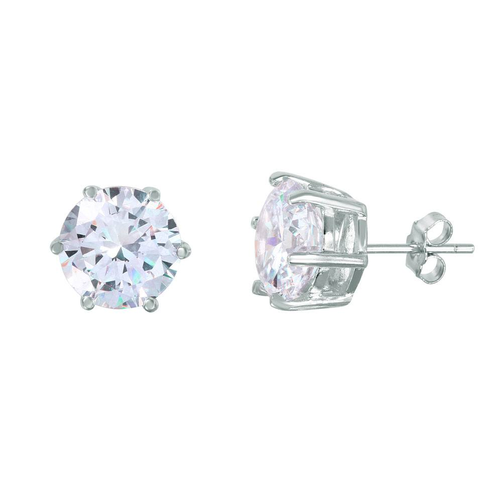Sterling Silver Nickel Free Rhodium Plated Round Solitaire Shape Stud Earrings With CZ Stones