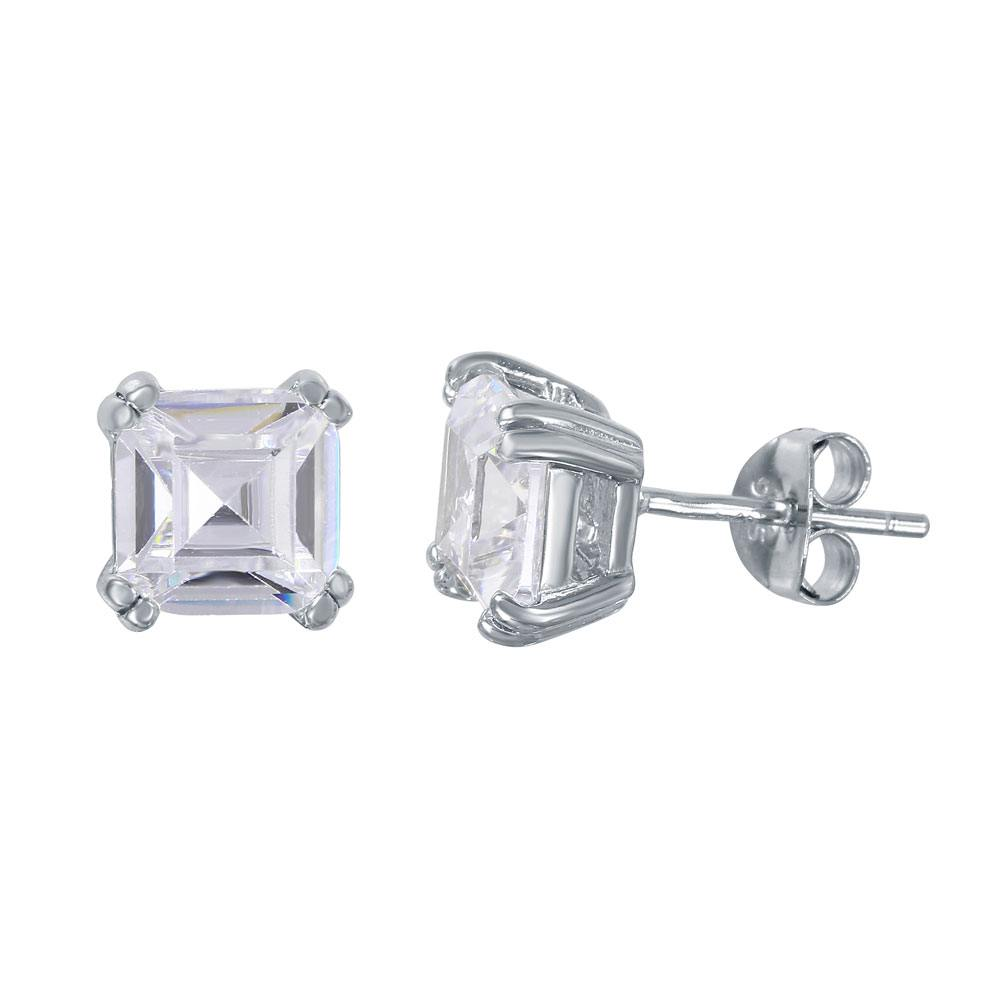 Sterling Silver Nickel Free Rhodium Plated Square Solitaire Shaped Stud Earrings With CZ Stone