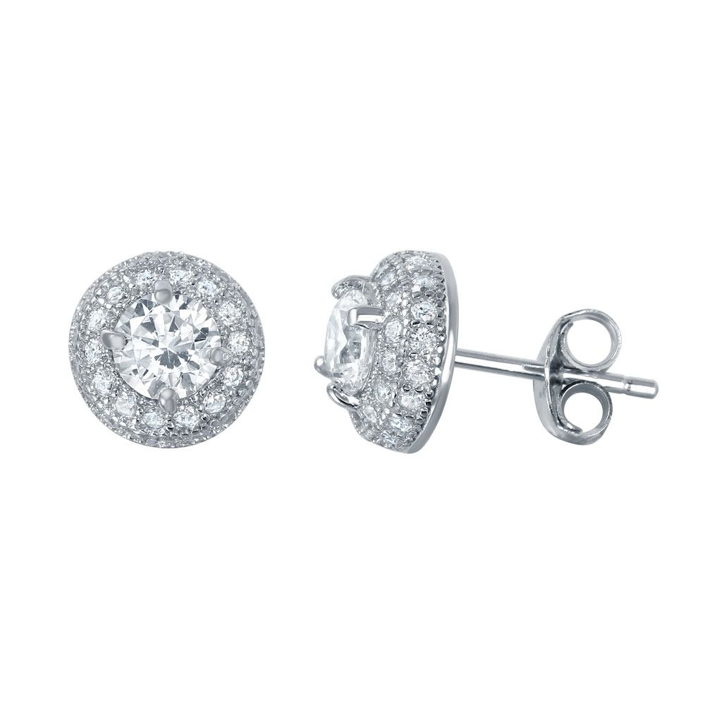 Sterling Silver Nickel Free Rhodium Plated Dome Round Shaped  Stud Earrings With CZ Stones
