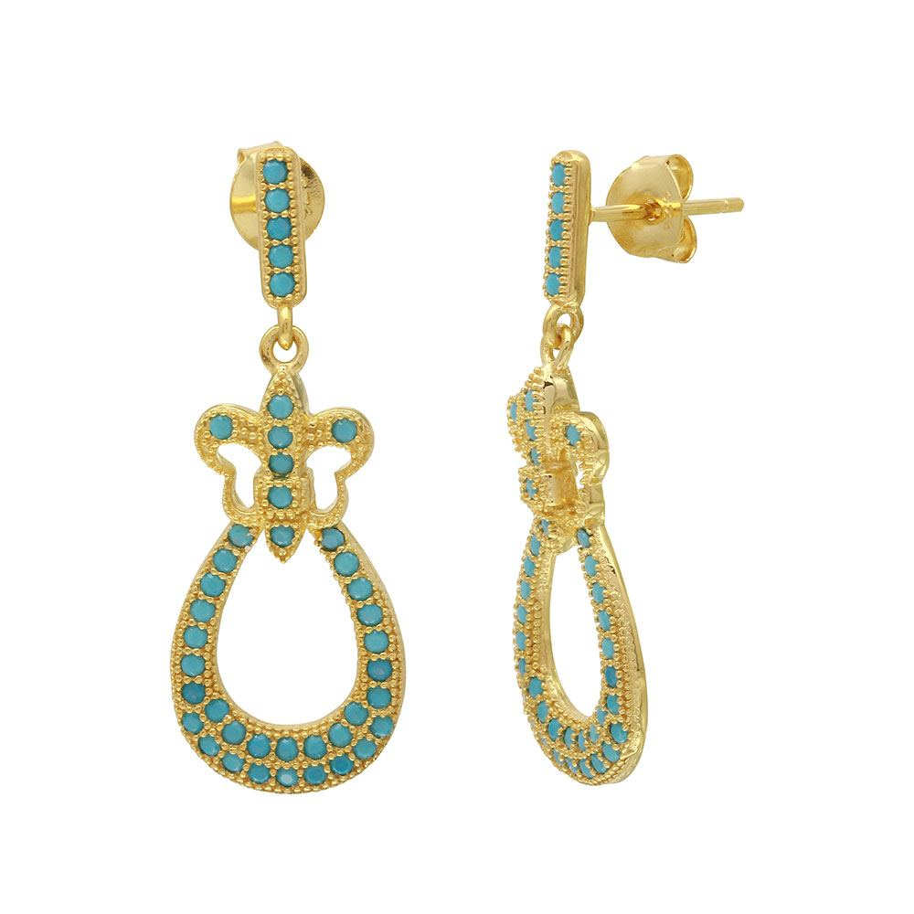 Sterling Silver Gold Plated Turquoise Stone Filigree Shape Dangling Earrings