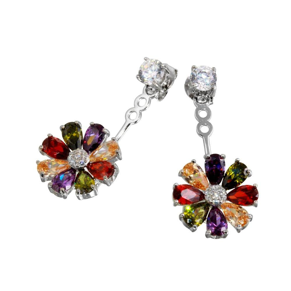 Sterling Silver Black Rhodium Plated Multi Color Sun Flower Shaped Hanging Stud Earrings With CZ Stones