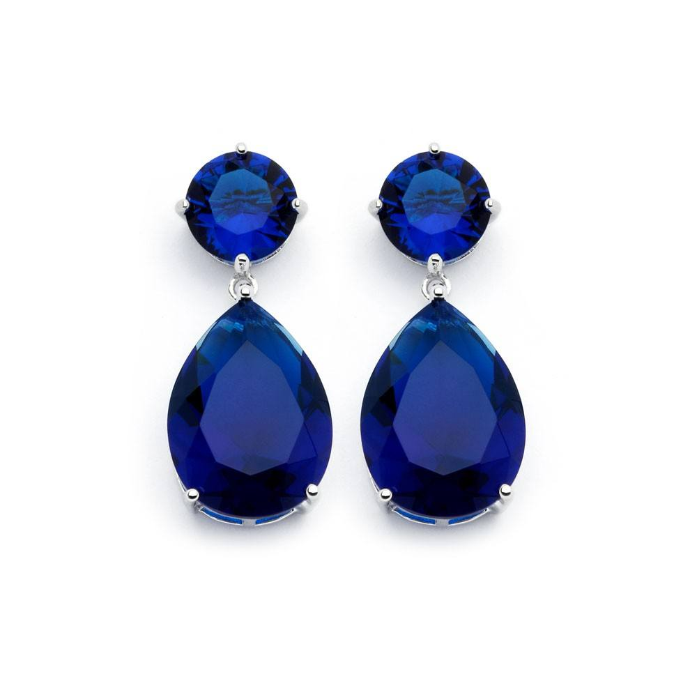 Sterling Silver Rhodium Plated Blue Sapphire Round Teardrop Shaped Dangling Stud Earrings