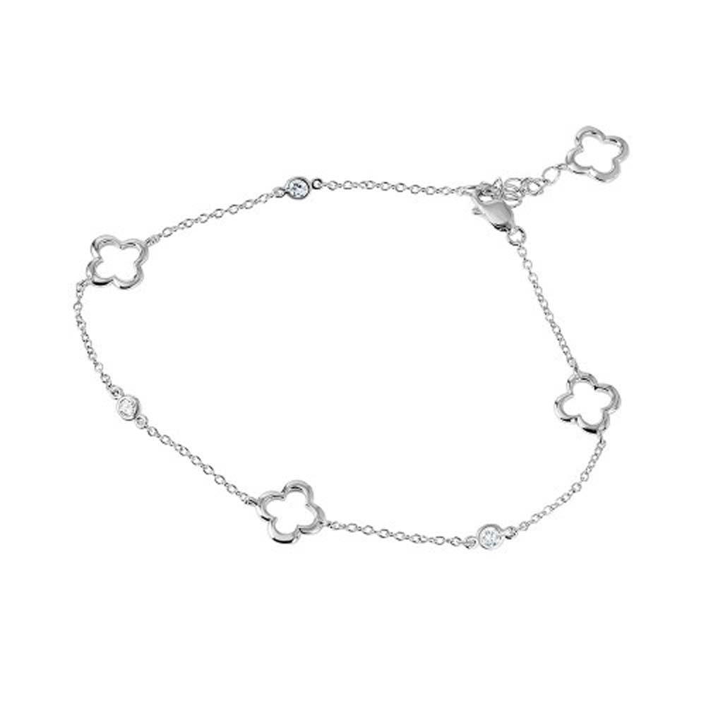 Sterling Silver Rhodium Plated Open Flower Anklet