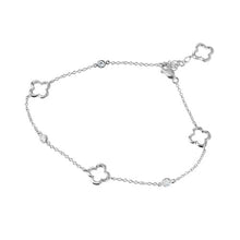 Load image into Gallery viewer, Sterling Silver Rhodium Plated Open Flower Anklet