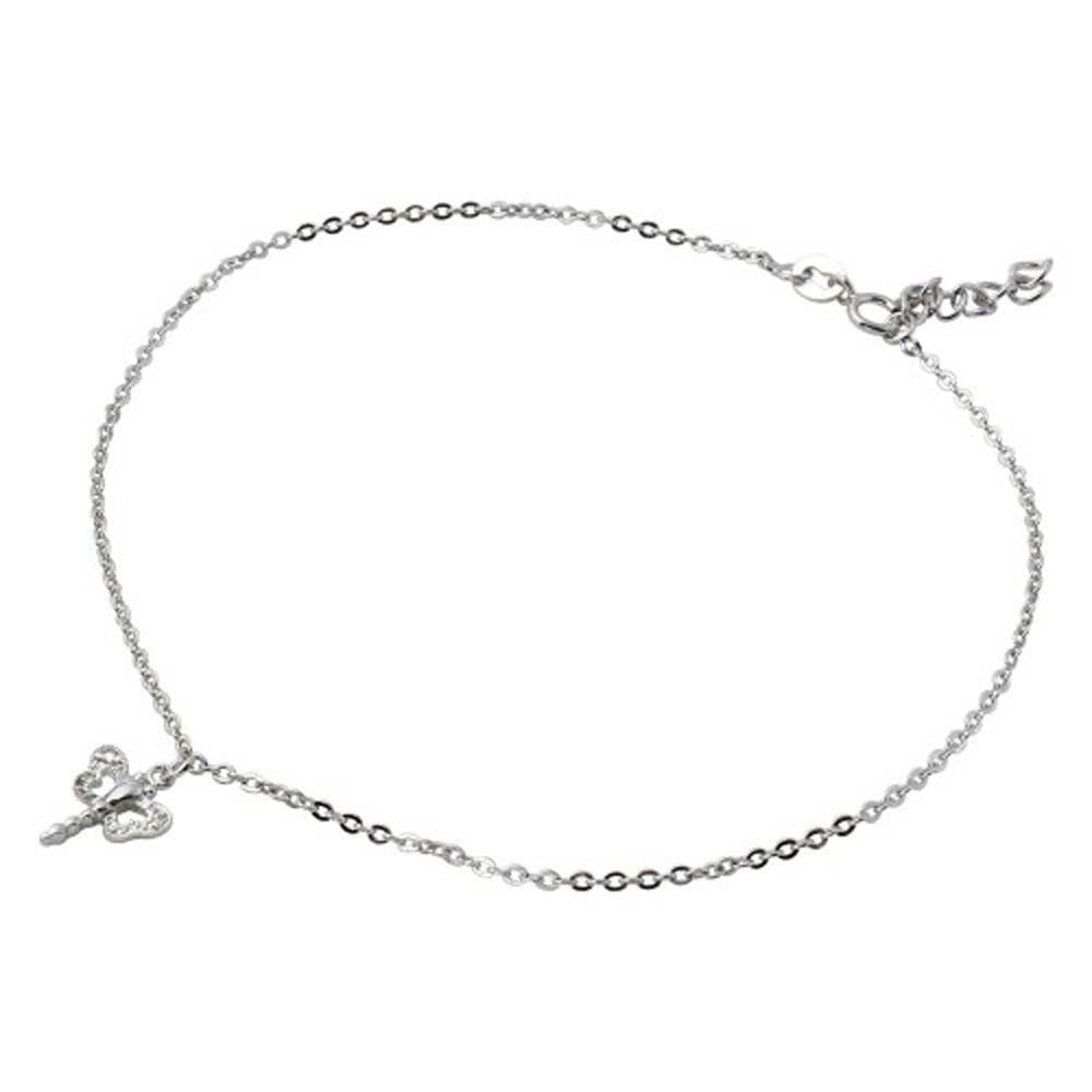 Sterling Silver Rhodium Plated Dangling Dragonly Anklet With CZ