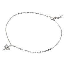 Load image into Gallery viewer, Sterling Silver Rhodium Plated Dangling Dragonly Anklet With CZ