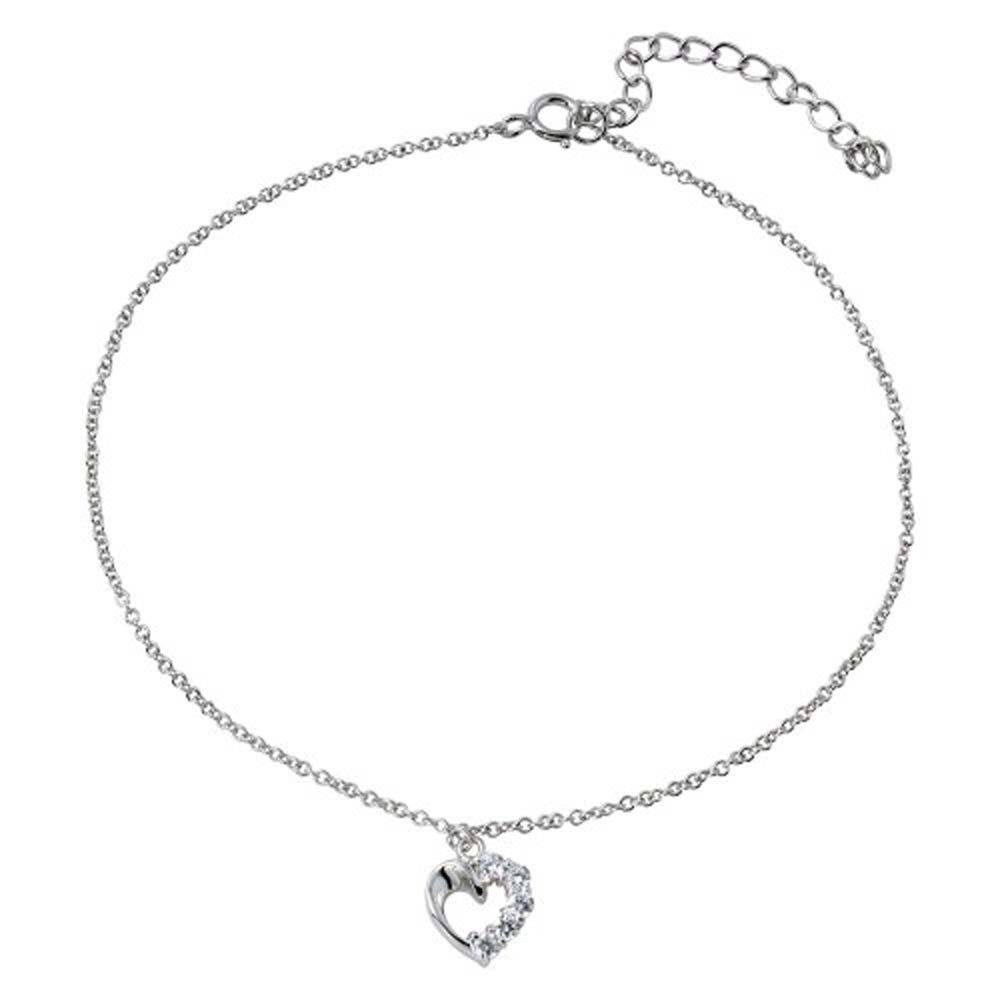 Sterling Silver Rhodium Plated Dangling Curved Open Heart With CZ Anklet