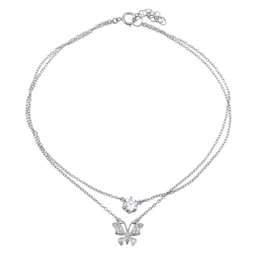 Sterling Silver Rhodium Plated Double Chain Anklet With Butterfly And CZ