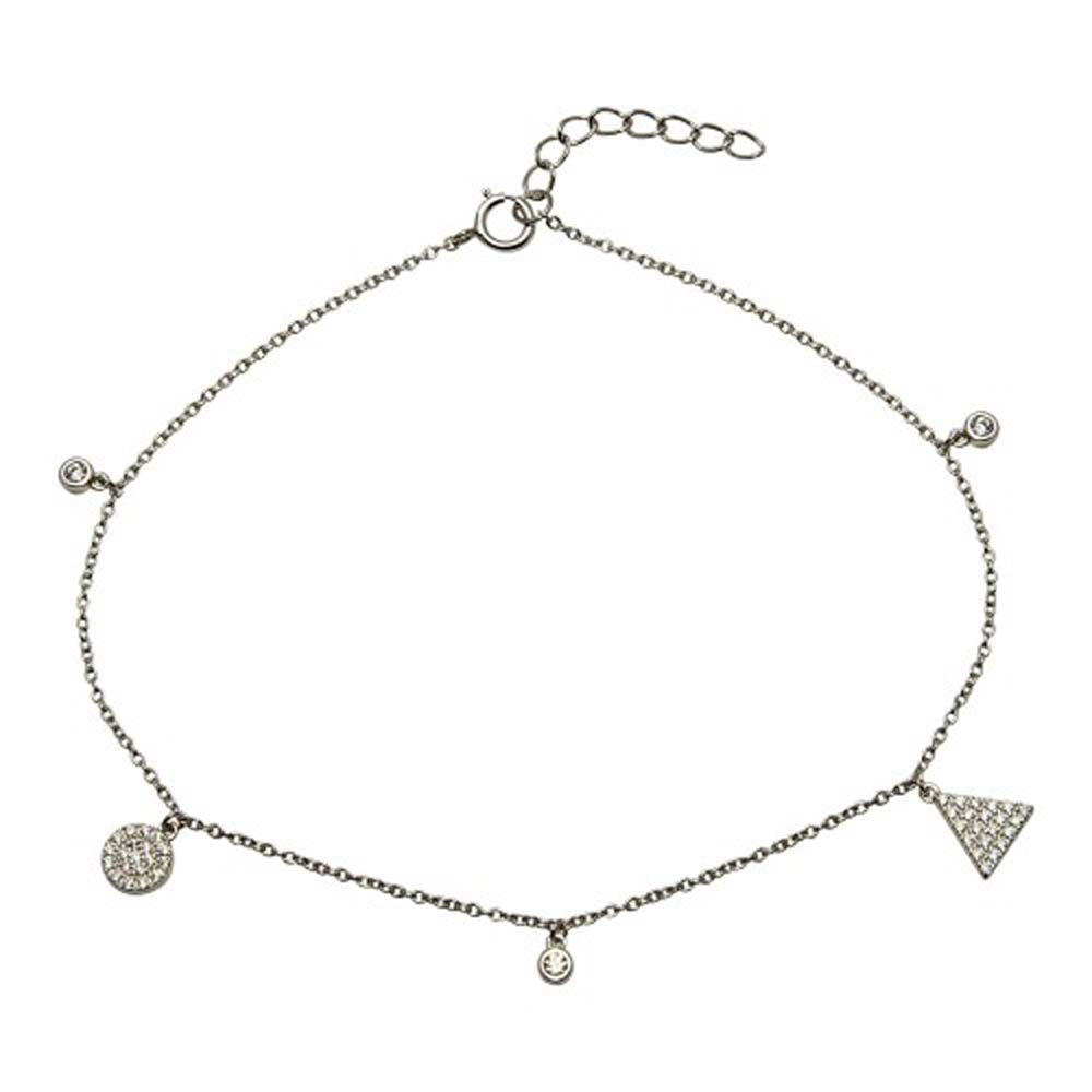 Sterling Silver Rhodium Plated Circle And Triangle Charm Anklet With CZ
