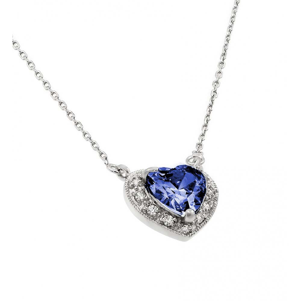 Sterling Silver Rhodium Plated Heart Shaped September Birthstone Pendant Necklace With Sapphire And Clear CZ