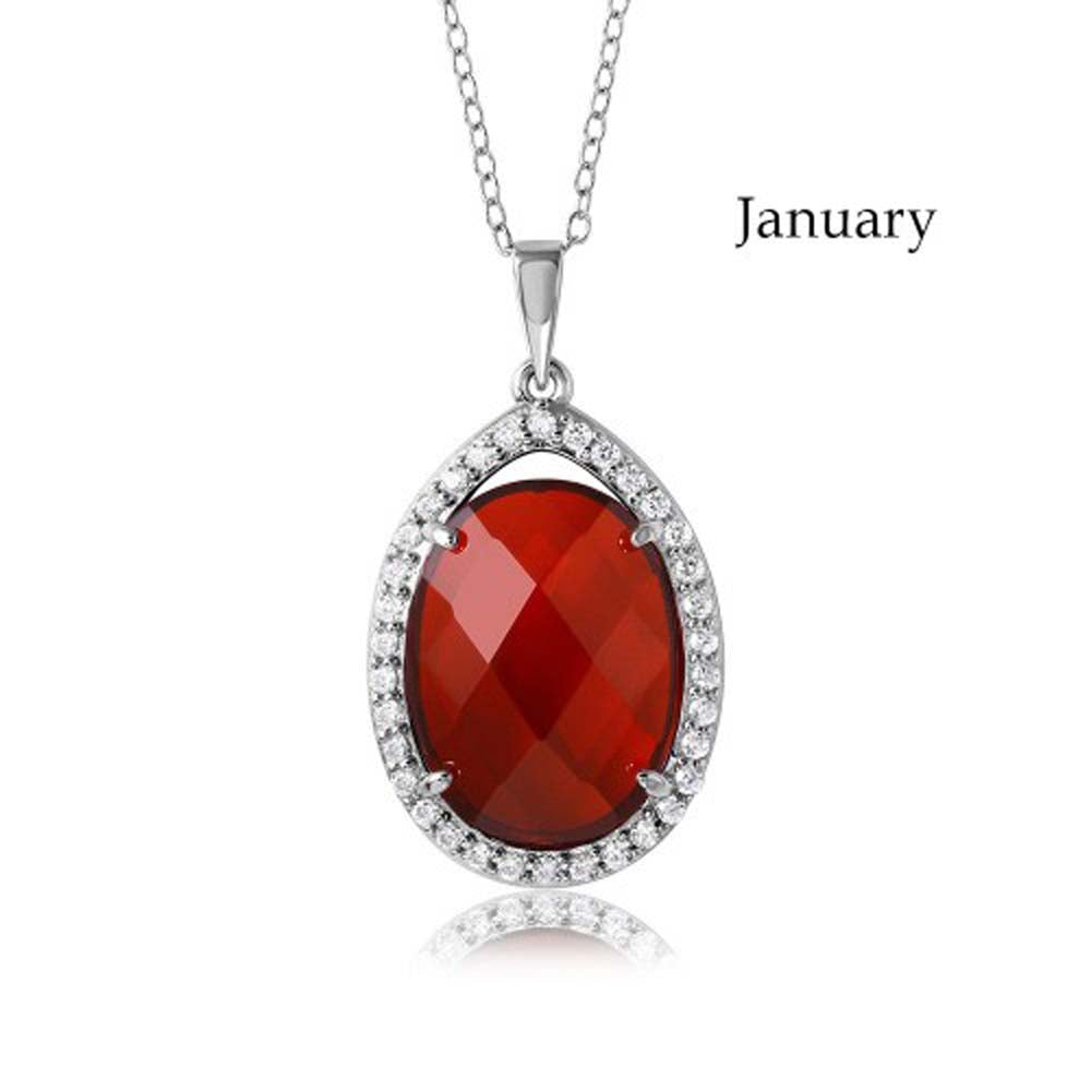 Sterling Silver Rhodium Plated Teardrop Halo January Birthstone Necklace With Garnet And Clear CZ