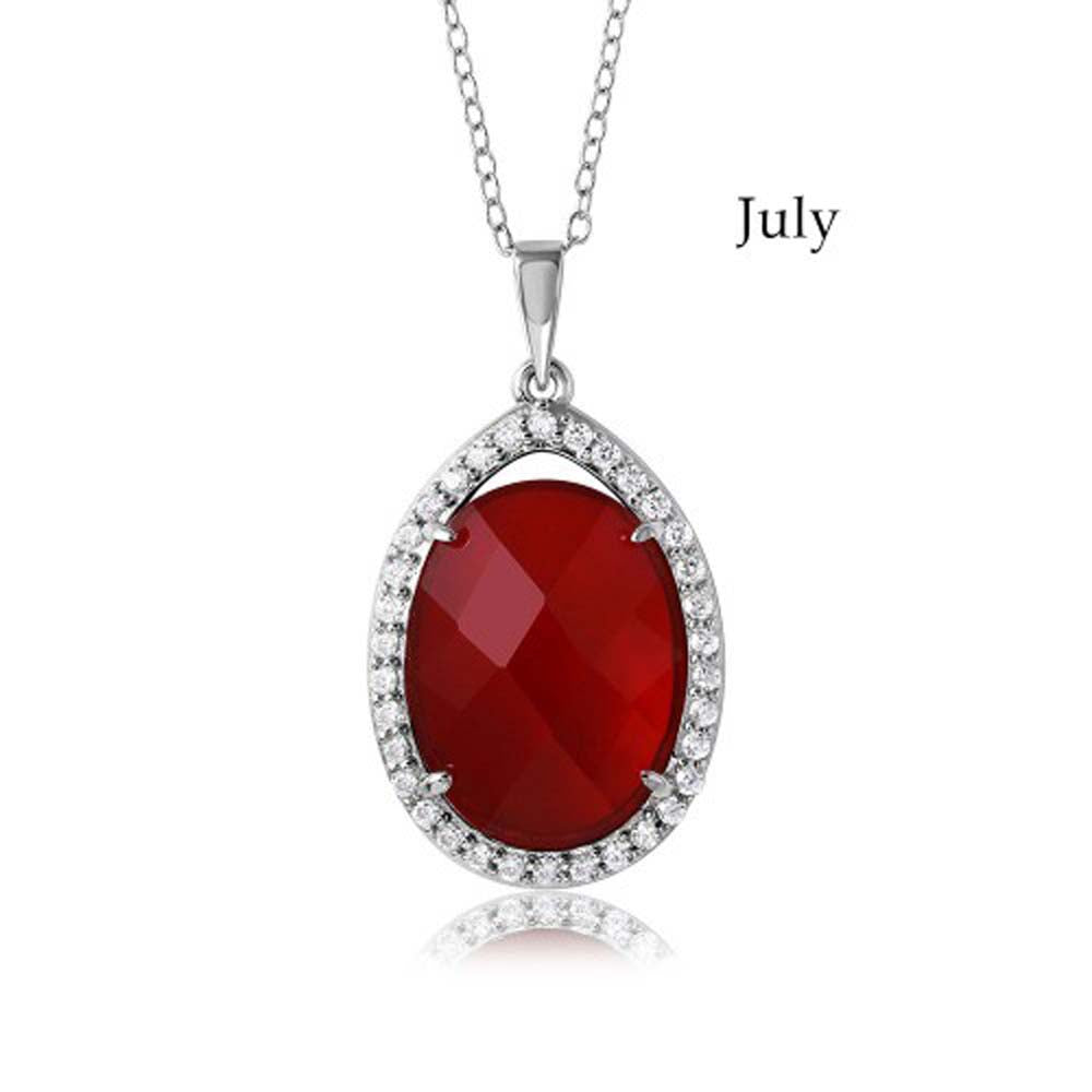 Sterling Silver Rhodium Plated Teardrop Halo July Birthstone Necklace With Ruby And Clear CZ