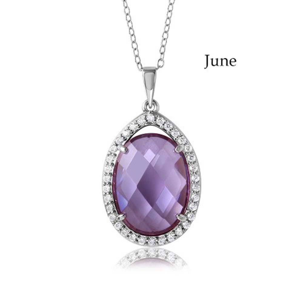 Sterling Silver Rhodium Plated Teardrop Halo June Birthstone Necklace With Alexandrite And Clear CZ