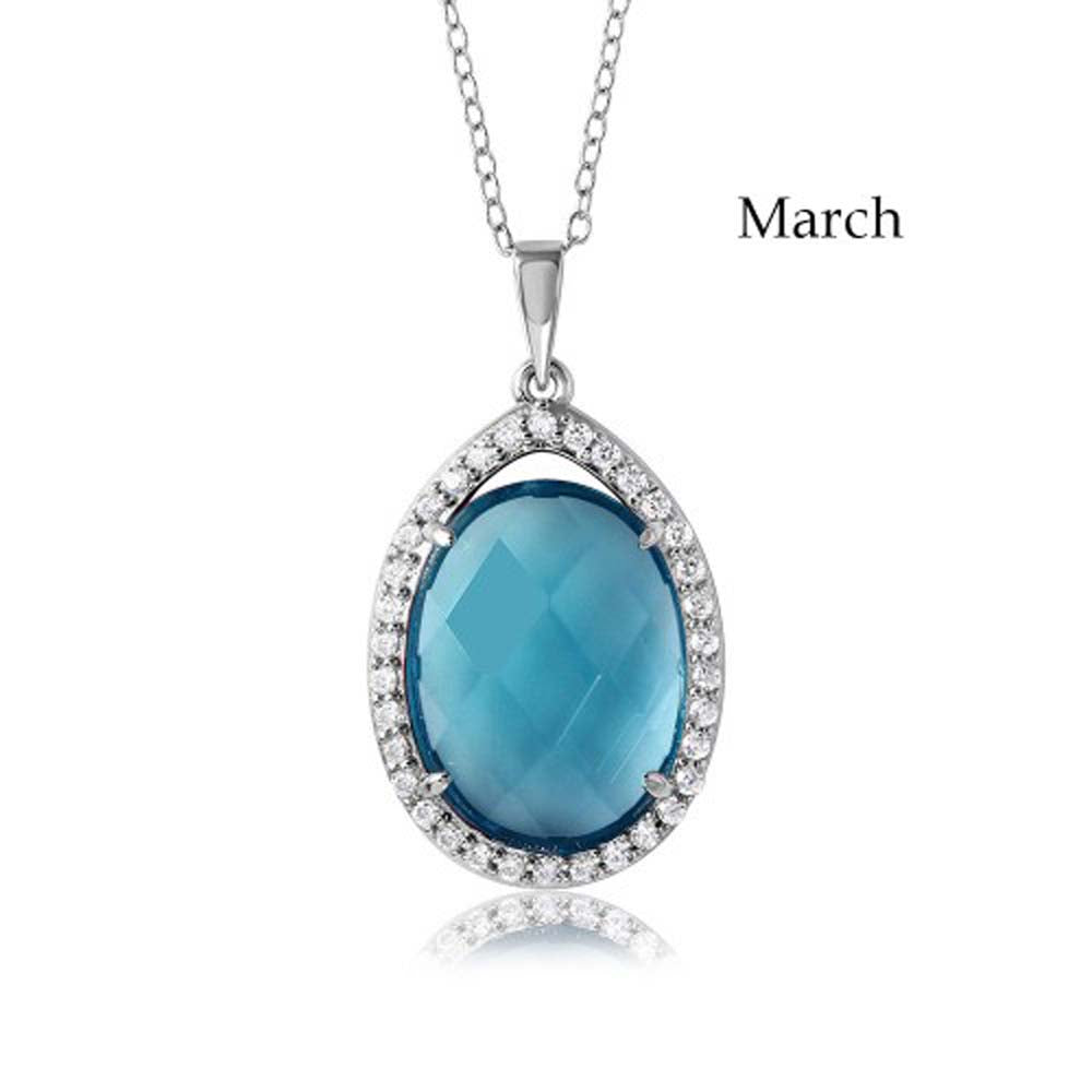 Sterling Silver Rhodium Plated Teardrop Halo March Birthstone Necklace With Aquamarine And Clear CZ