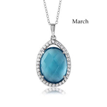 Load image into Gallery viewer, Sterling Silver Rhodium Plated Teardrop Halo March Birthstone Necklace With Aquamarine And Clear CZ