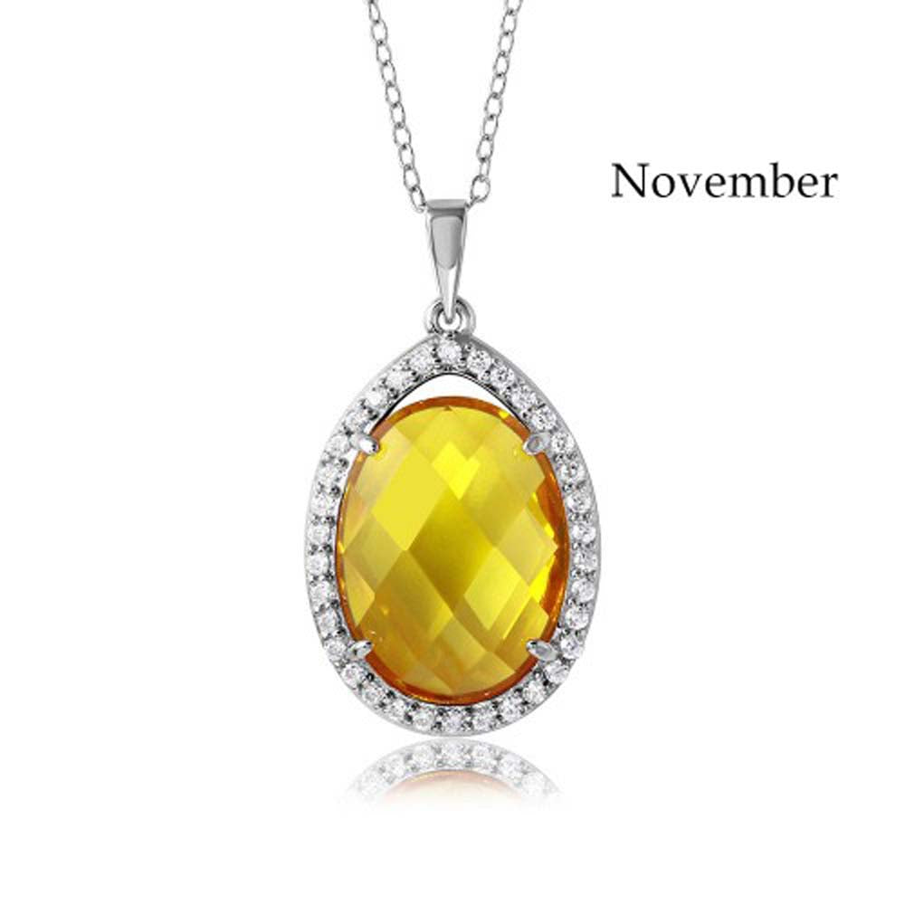 Sterling Silver Rhodium Plated Teardrop Halo November Birthstone Necklace With Citrine And Clear CZ