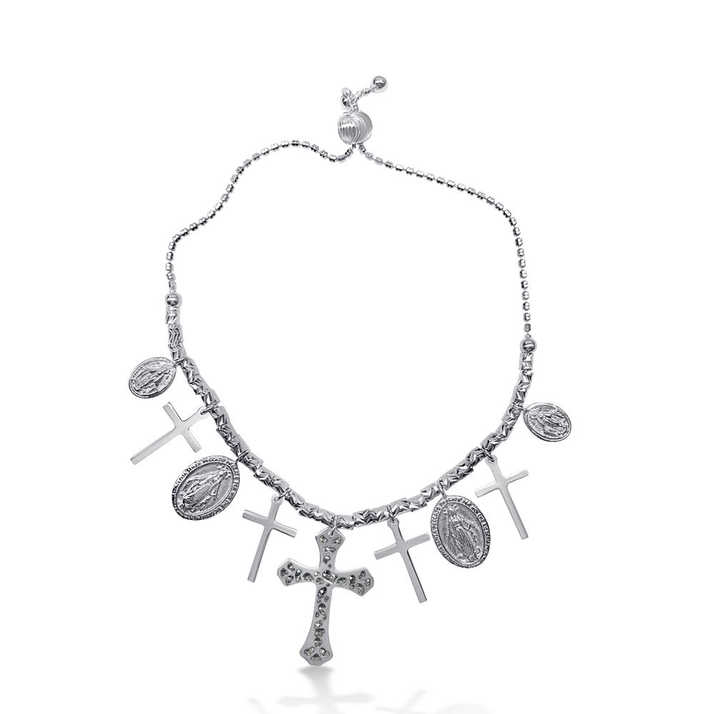 Sterling Silver Rhodium Plated Cross and Medallion Charm Bracelet
