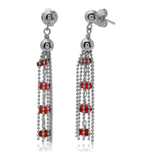 Load image into Gallery viewer, Sterling Silver Rhodium Plated Dropped Bead Chain With Dark Red Bead Earrings