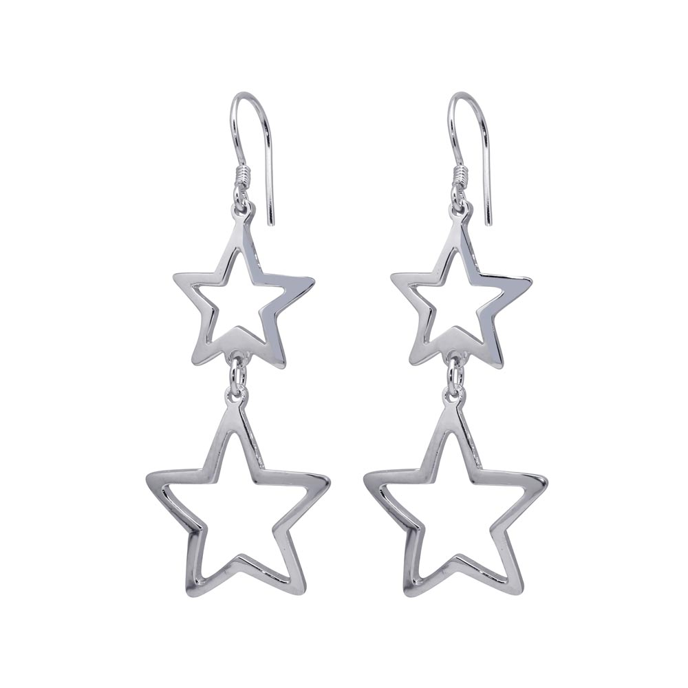 Sterling Silver Rhodium Plated Two Open Star Hook Dangling Earrings