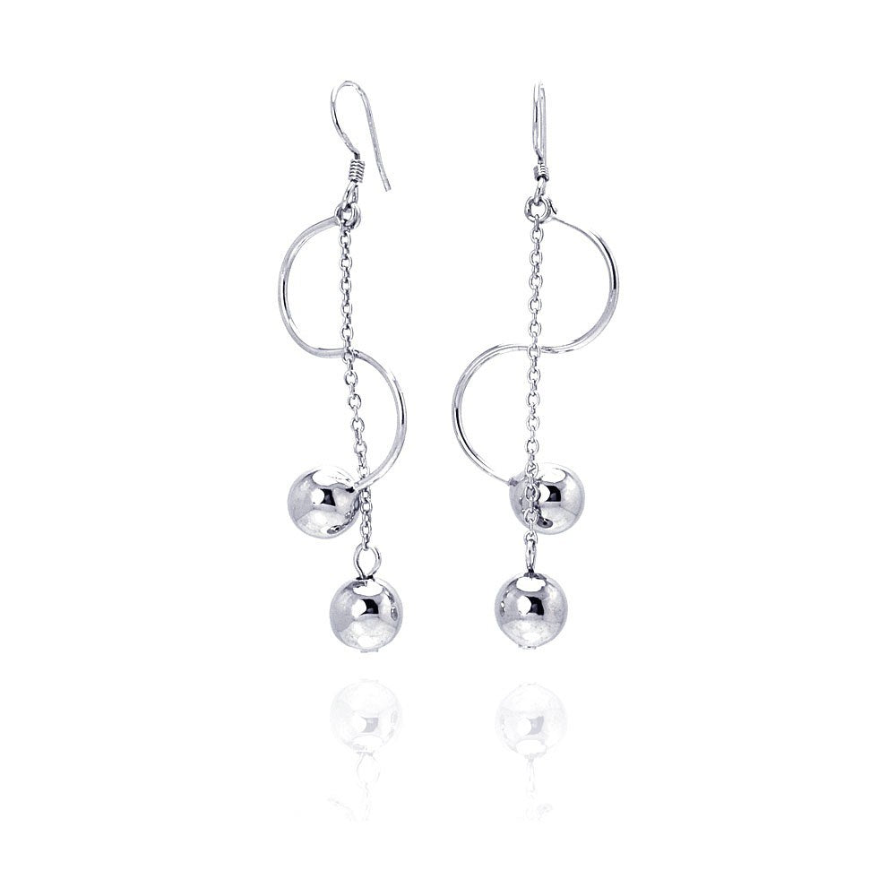 Sterling Silver Rhodium Plated Two Hanging Ball Twisted Dangling Hook Earrings