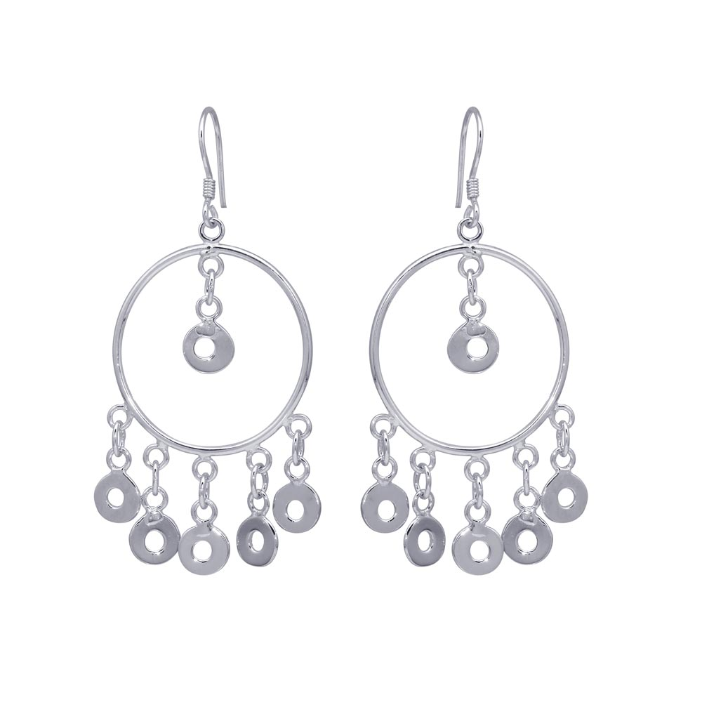 Sterling Silver  Rhodium Plated Multiple Open Black Circles Dangling Chandelier Hook Earrings