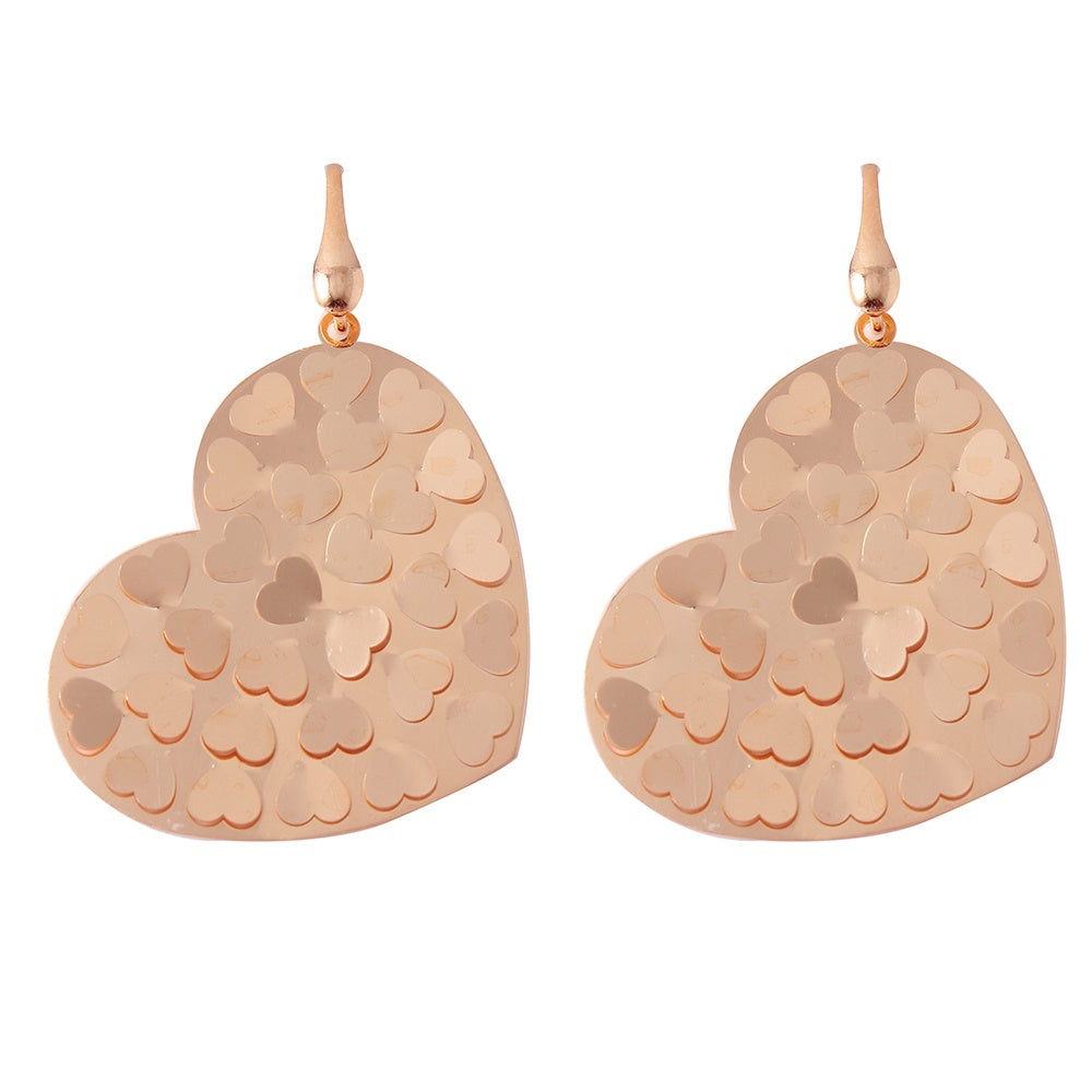 Sterling Silver Rose Gold Plated Heart Hook Earrings with Heart Shapes Design and Earring Dimensions of 35MMx29MM
