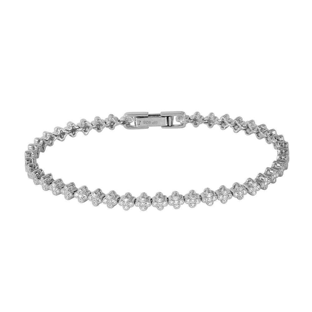 Sterling Silver Rhodium Plated Small Micropaved CZ Cross Bracelet