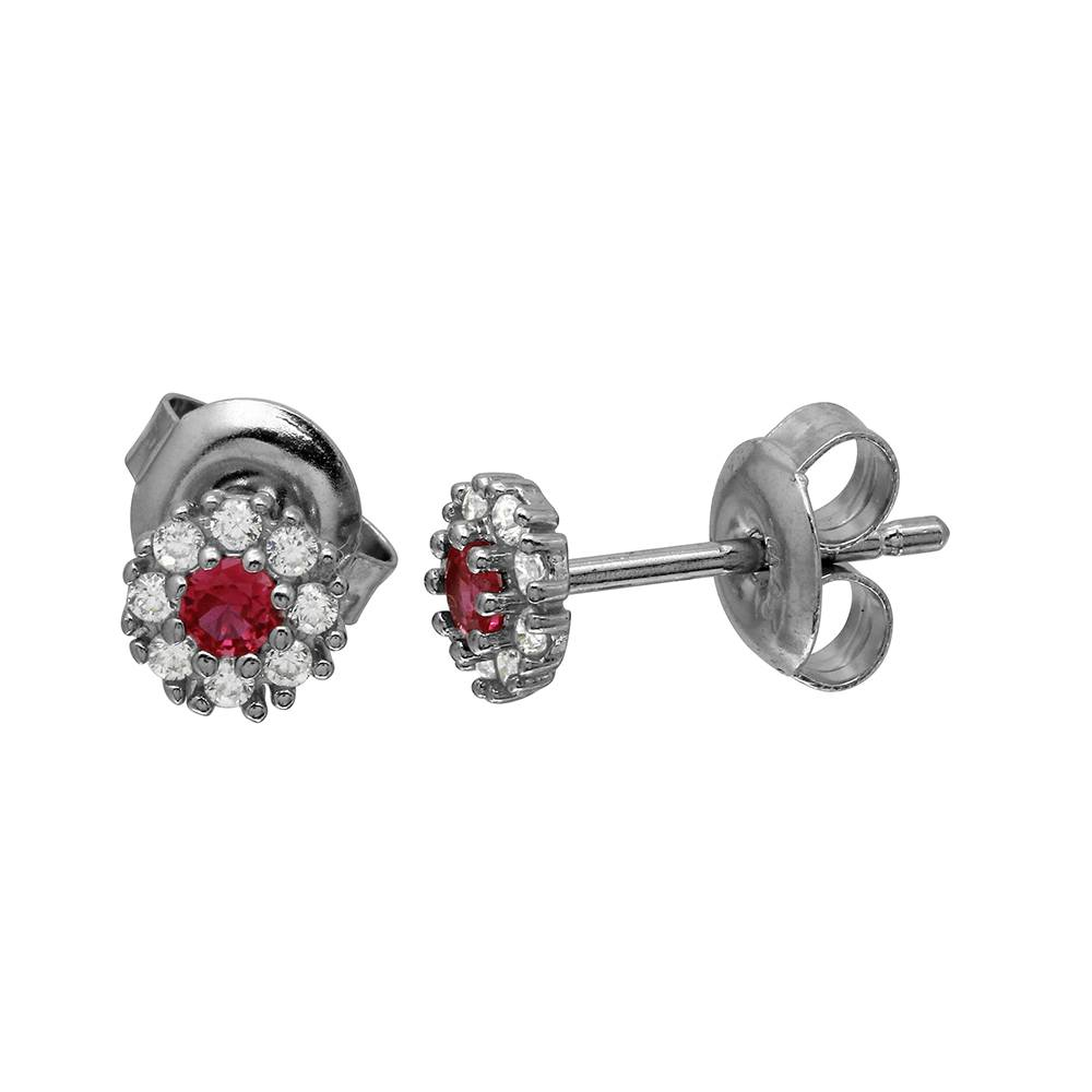 Sterling Silver Rhodium Plated CZ Flower Stud Earring With Red Center Stone Earring
