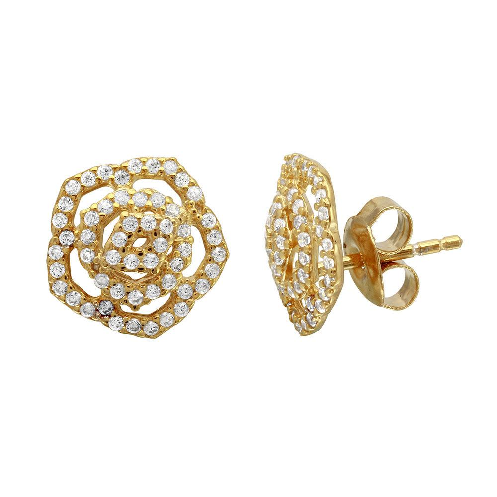 Sterling Silver Gold Plated Outline CZ Flower Stud Earrings