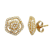 Load image into Gallery viewer, Sterling Silver Gold Plated Outline CZ Flower Stud Earrings