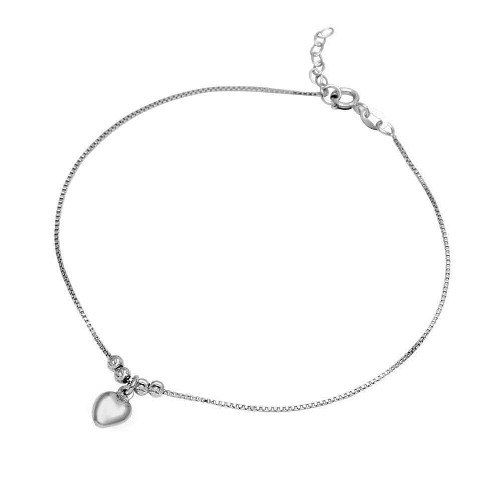 Sterling Silver Rhodium Plated Dangling Heart Anklet