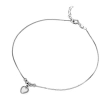Load image into Gallery viewer, Sterling Silver Rhodium Plated Dangling Heart Anklet