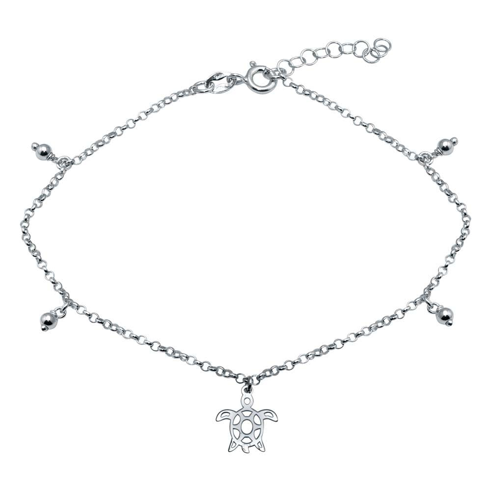 Sterling Silver Rhodium Plated Turtle Charm Anklet