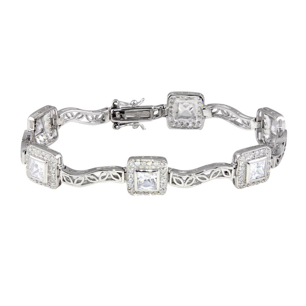 Sterling Silver Rhodium Plated Clear Round and Square CZ Bracelet