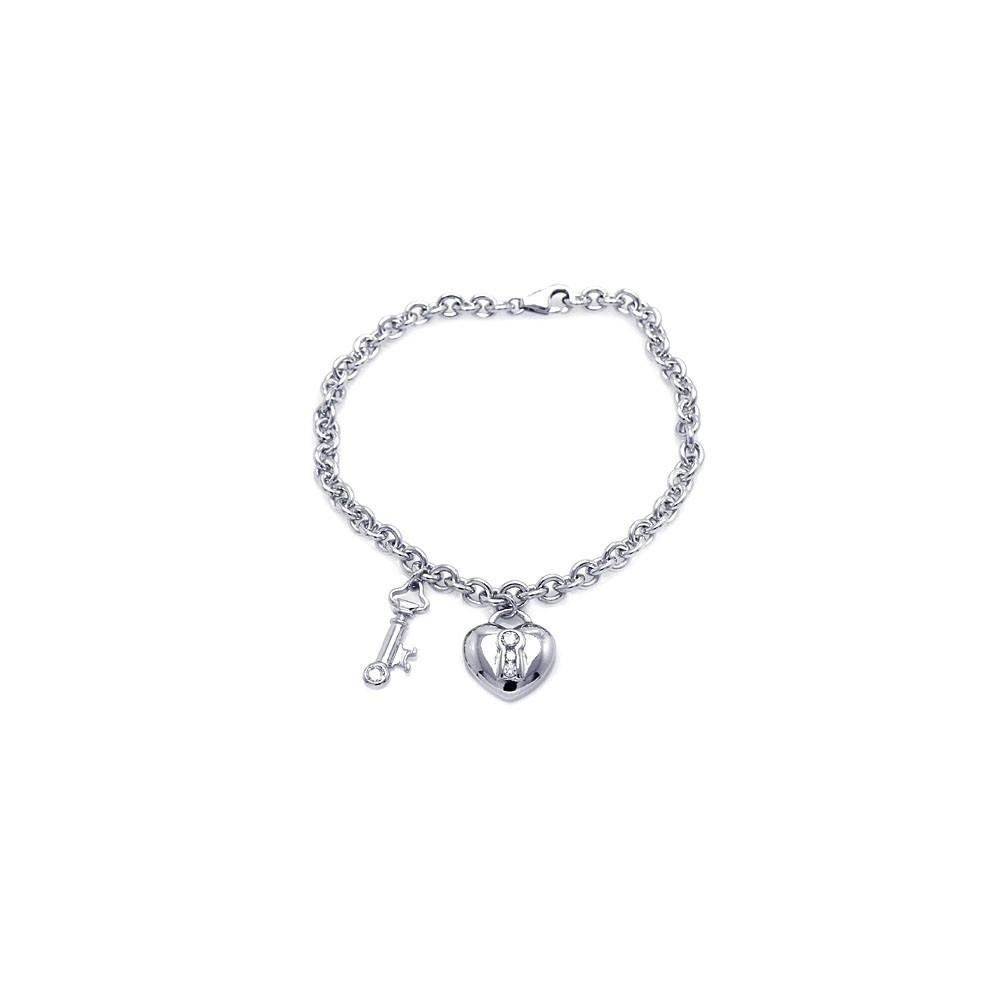 Sterling Silver Rhodium Plated Clear CZ Lock and Key Bracelet