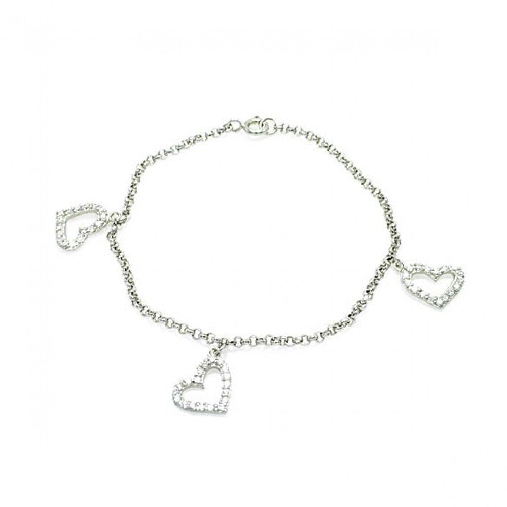 Sterling Silver Rhodium Plated Open Multi Heart Clear CZ Bracelet
