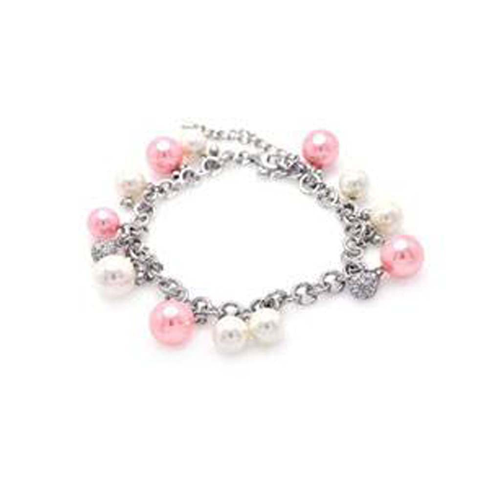 Sterling Silver Rhodium Plated White and Pink Pearl Clear CZ Bracelet